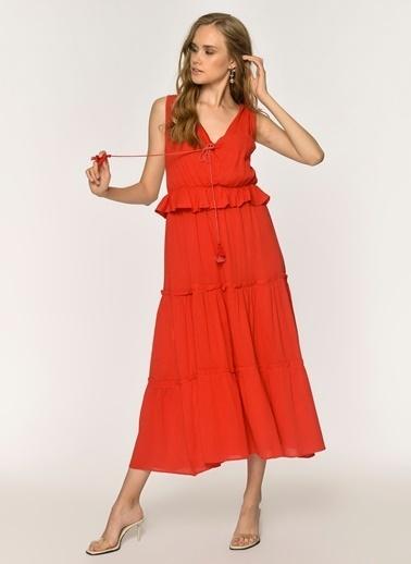 Loves You V Yaka %100 Cotton Krinkıl Robadan Elbise Kırmızı